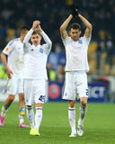 Dynamo Kyiv players applauding to their fans after UEFA Europa League Round of 16 second leg match between Dynamo and Everton Royalty Free Stock Photos