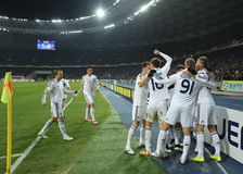 Dynamo Kyiv players celebrating scored goal in UEFA Europa League Round of 16 second leg match between Dynamo and Everton Stock Photography
