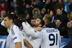 Dynamo Kyiv players celebrating scored goal, UEFA Europa League Round of 16 second leg match between Dynamo and Everton Royalty Free Stock Photo