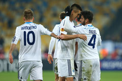 Dynamo Kyiv players celebrating scored goal, UEFA Europa League Round of 16 second leg match between Dynamo and Everton Stock Images