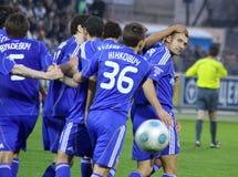 Dynamo Kyiv players congratulate Andriy Shevchenko Stock Image