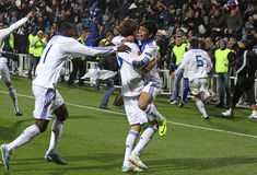 Dynamo Kyiv players react after scored a goal Stock Photography