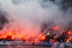 Dynamo Kyiv ultra supporters Stock Image