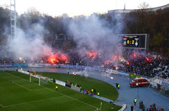 Dynamo Kyiv ultra supporters Stock Images