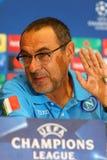 Dynamo Kyiv v Napoli de ligue de champions d'UEFA : presse-conférence de Pré-match Photo stock