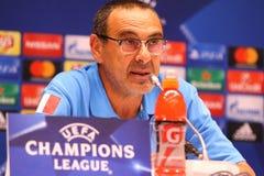 Dynamo Kyiv v Napoli de ligue de champions d'UEFA : presse-conférence de Pré-match Images libres de droits