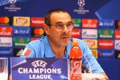 Dynamo Kyiv v Napoli de ligue de champions d'UEFA : presse-conférence de Pré-match Photographie stock libre de droits
