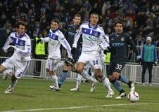 Dynamo Kyiv versus de Stad van Manchester Stock Foto