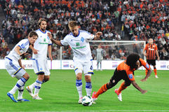 Dynamo players knock the opponent Royalty Free Stock Photography
