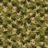 Dynasty of Duck, Hunting Pattern. Fabric pattern of military colors, defending motif with bird design, hunting, autumn and army theme Stock Photo