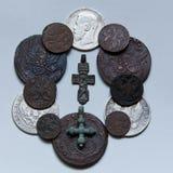 Dynasty of tsars Romanov. Coins of a dynasty of tsars Romanov of 18-20 centuries Royalty Free Stock Photo