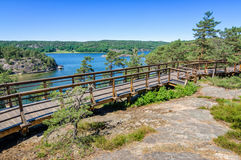 Dynekilen rest place area. Beautiful Swedish summer landscape with typical architectural detail Stock Image