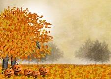 Dyniowa rodzina z ich przyjacielem sowa w jesień krajobrazie ilustracja wektor