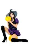 dyniowa siedząca czarownica Obrazy Stock