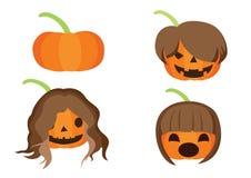 Dyniowej fryzury Halloweenowy projekt na białym tle royalty ilustracja