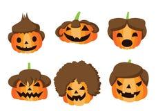 Dyniowej fryzury Halloweenowy projekt na białym tle ilustracji