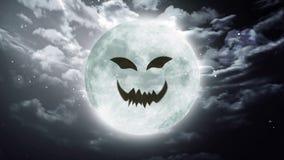 Dyniowej twarzy księżyc Wielki Halloweenowy niebo ilustracja wektor