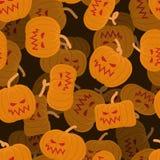 Dyniowy bezszwowy wzór 3D Halloween od tła blasku księżyca uwagi Straszny vegetab Obrazy Stock