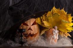 Dyniowy Halloween z czarną nakrętką i jesień liśćmi Fotografia Royalty Free