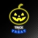 Dyniowy neonowy znak sztuczka przysmaki Halloweenowy jaskrawy signboard, lekki sztandar Logo, etykietka, emblemat również zwrócić Obraz Royalty Free
