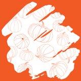 Dyniowy sylwetka wzór na pomarańczowa ręka rysującym tła handw Obrazy Stock