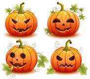Dyniowy ustawiający dla Halloween na białym tło wektorze Fotografia Stock