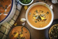 Dyniowy zupny karmowy fotografia przepisu pomysł zdjęcie stock