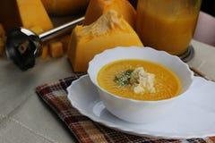 Dyniowy zupny kucharstwo Fotografia Stock