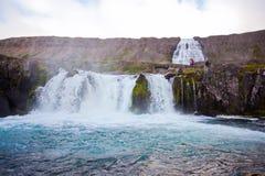 dynjandi冰岛北瀑布 免版税库存图片