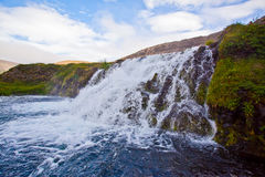 Dynjandi waterfall in the northern Iceland. On a sunny summer Stock Photo