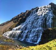 Dynjandifoss vattenfall i Iceland' s Westfjords Arkivfoto