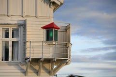 Dyny latarnia morska & mgła dzwon, Oslo, Norwegia obrazy stock
