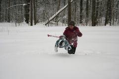 Dypöl i snön Royaltyfri Foto