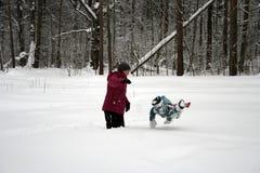 Dypöl i snön Arkivfoton