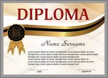 Dyplom lub świadectwo Złociści i czarni dekoracyjni elementy Wygrywać rywalizację nagroda zwycięzca nagroda wektor Fotografia Stock