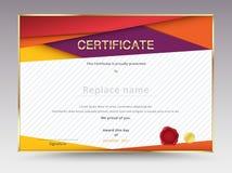 Dyplomu świadectwa szablonu projekt z międzynarodową druk skala Fotografia Royalty Free