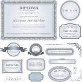 Dyplomu szablon z dodatkowymi projektów elementami Obraz Royalty Free