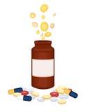 Dyr medicin - droger royaltyfri illustrationer