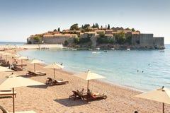 Dyra hotell på Sveti Stefan - Montenegro Arkivfoton