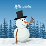 Dyrbar snögubbe i en hatt Le som är frostigt med en domherrefågel Soligt landskap med konturn av skogvektorn stock illustrationer