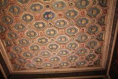 Dyrbart dekorerat tak i det italienska museet Palazzo Te i Mantova Royaltyfri Foto