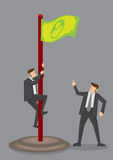 Dyrektor Wykonawczy Wspina się Up pieniądze Chorągwianą Wektorową ilustrację Obrazy Stock