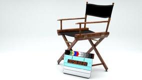 Dyrektora Clapboard i krzesło ilustracja wektor