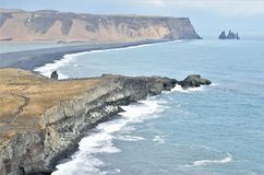 Dyrhólaey, view of the reynisfjhara beach in iceland royalty free stock photography