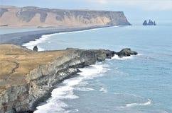 Dyrhólaey, view of the reynisfjhara beach in iceland royalty free stock photography