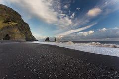 Dyrholaey, Ισλανδία Μαύρη παραλία Στοκ εικόνες με δικαίωμα ελεύθερης χρήσης