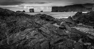 Dyrholaey. A black sand beach in south Iceland stock photography