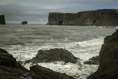Dyrholaey. A black sand beach in south Iceland stock photos