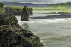 Dyrholaey. A black sand beach in south Iceland stock photo