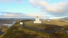 Dyrholaey Cape Lighthouse South Iceland stock video footage
